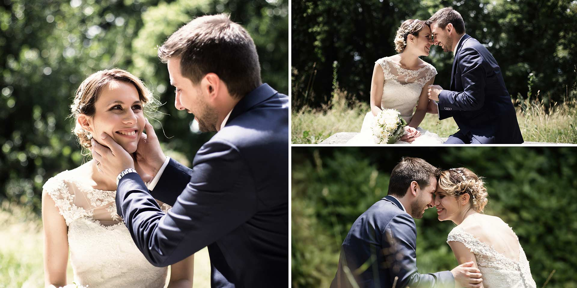 Momento romantico tra gli sposi
