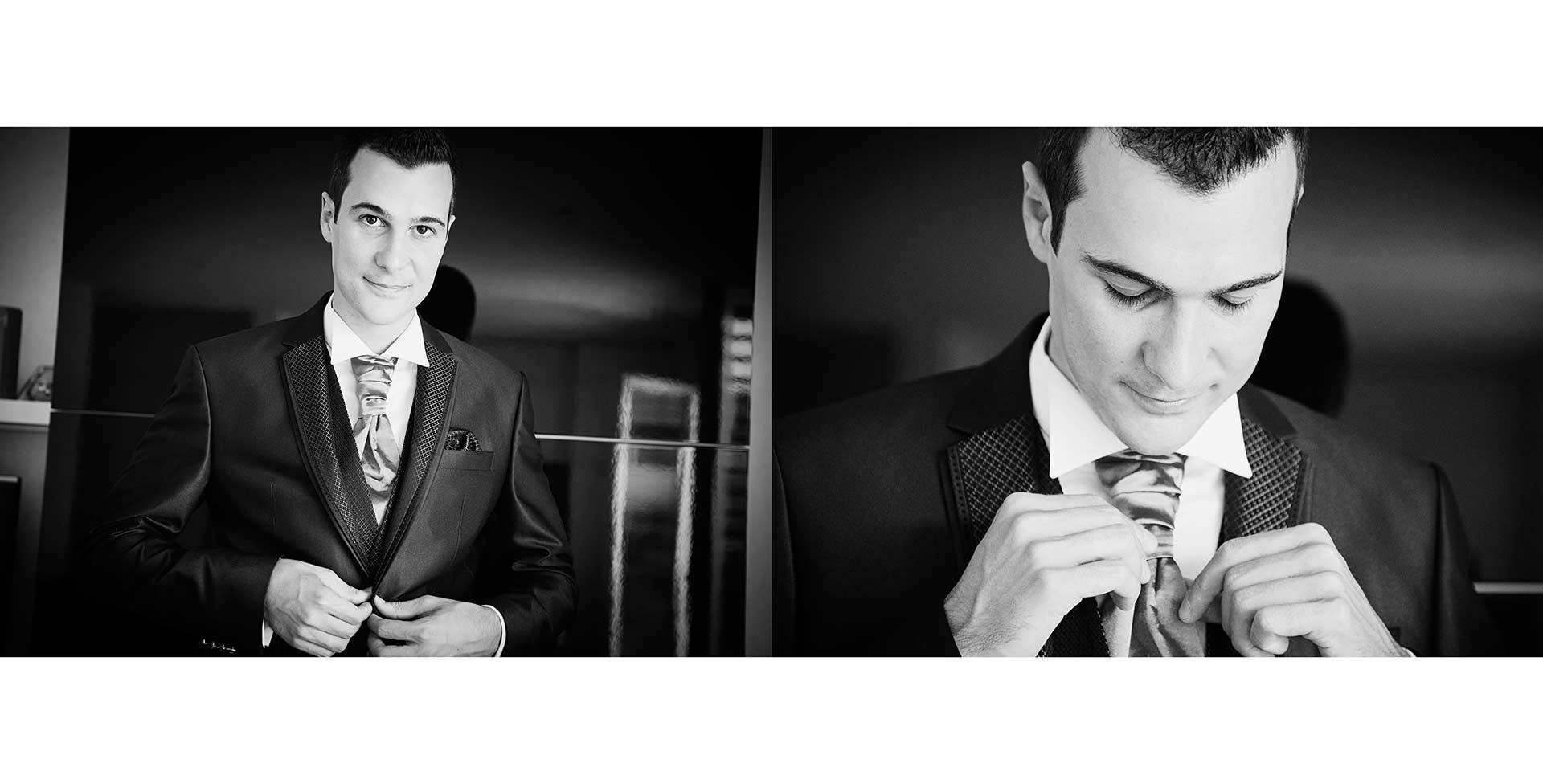 Ritratto dello sposo mentre si prepara