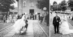 La sposa arriva in chiesa a bordo di una Vespa