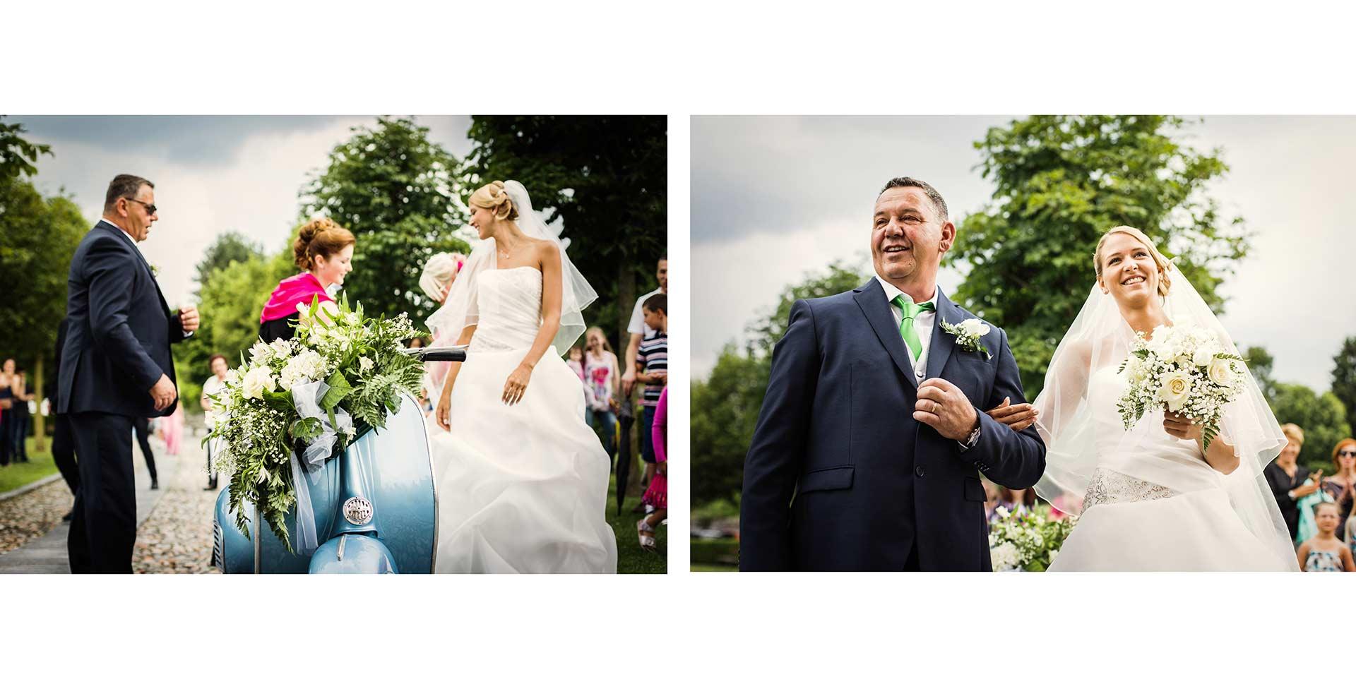 Ritratto della sposa e del papà prima di entrare in chiesa