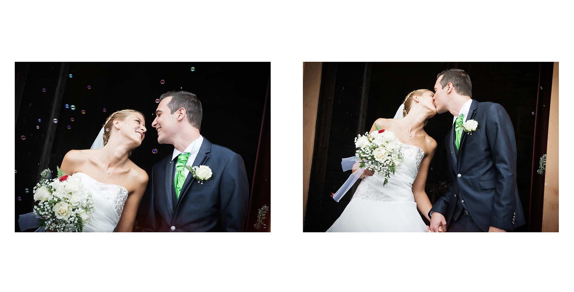 Gli sposi si lasciano andare in un bellissimo bacio