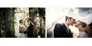 Momenti di tenerezze tra gli sposi nel giardino de Le Pinete a Gaggiolo