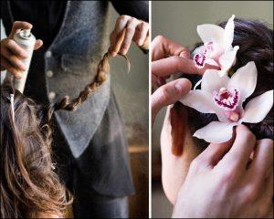 Immagini della sistemazione dei capelli della sposa