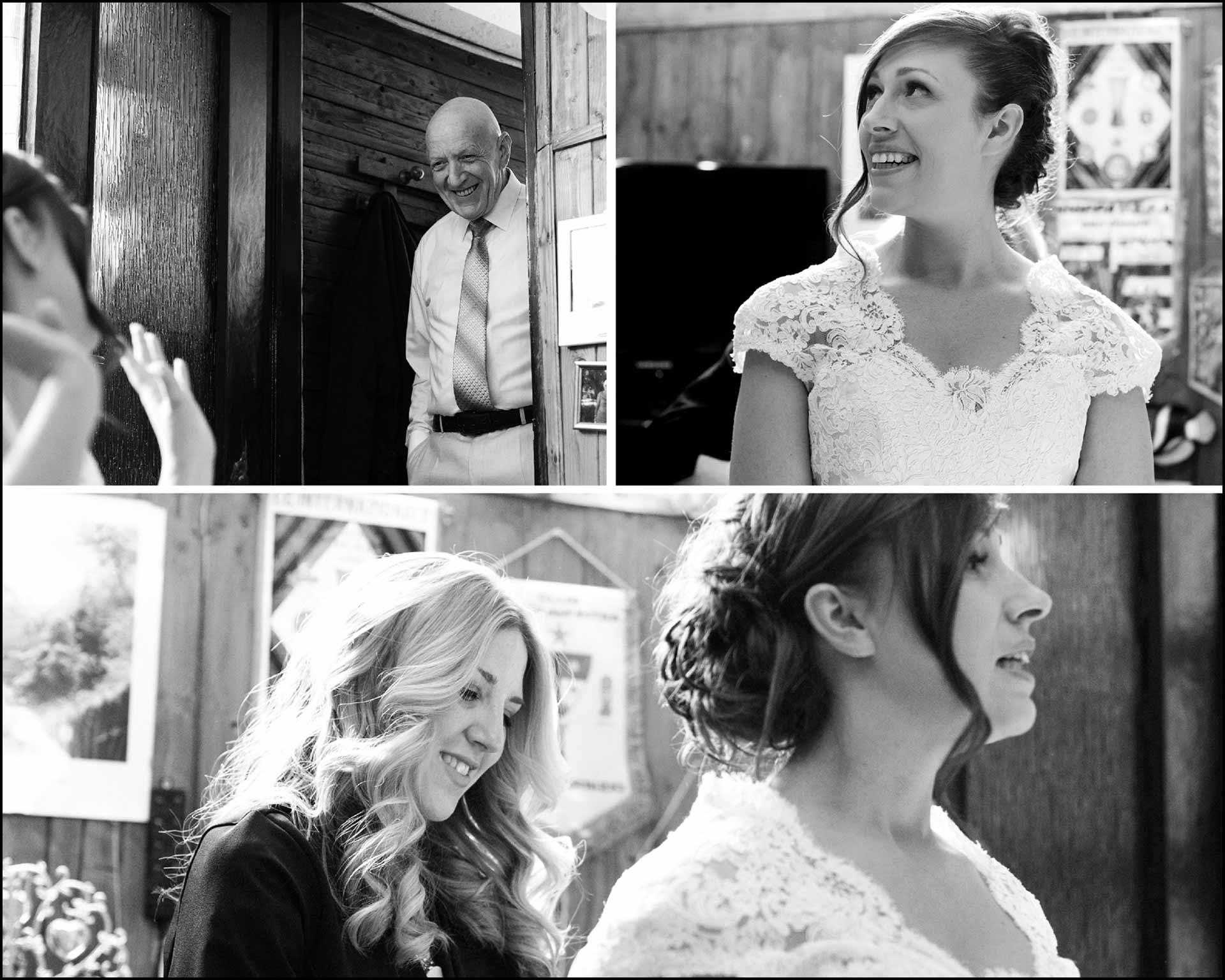 Il papà osserva la sposa mentre si prepara