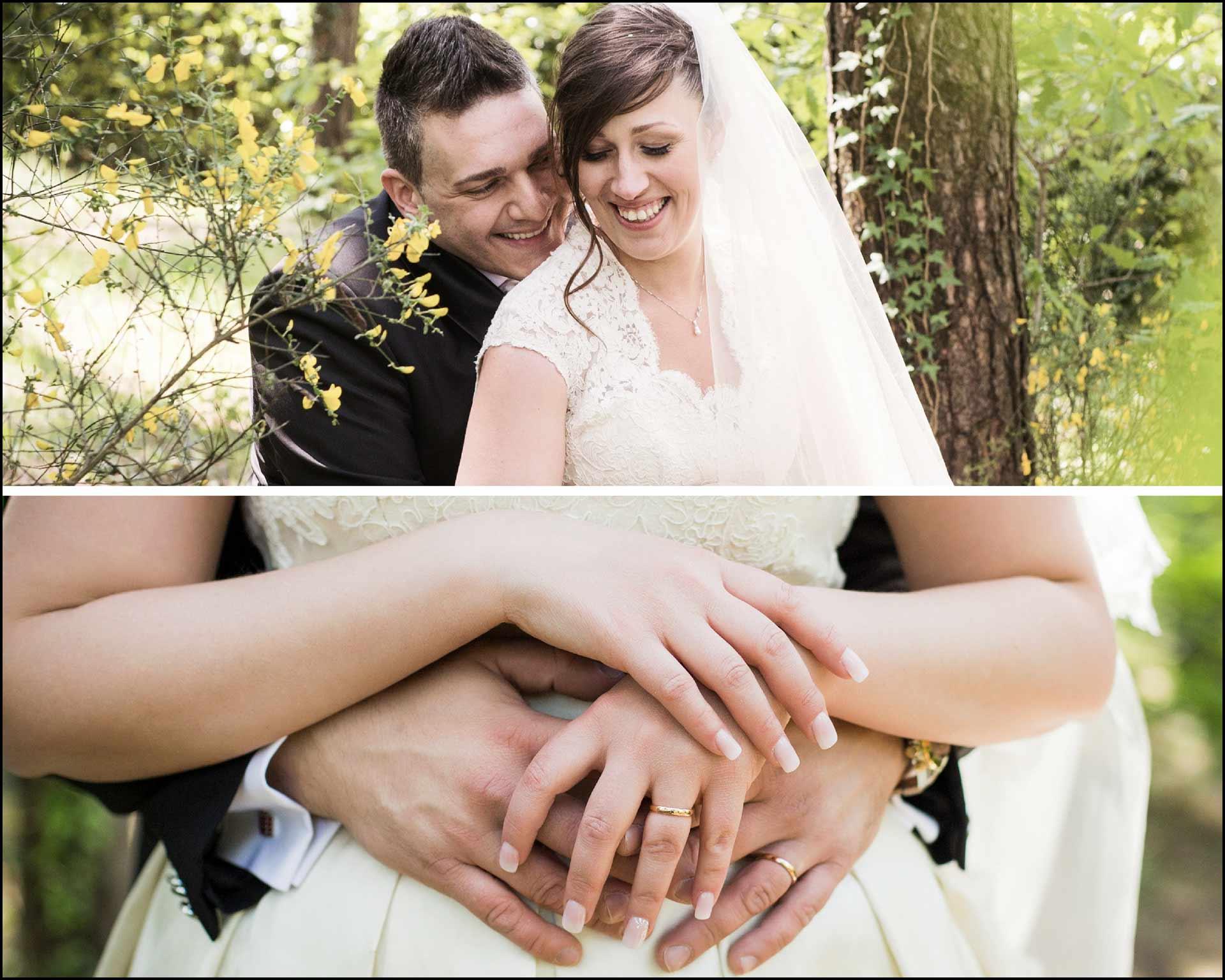 Un dolce abbraccio tra gli sposi