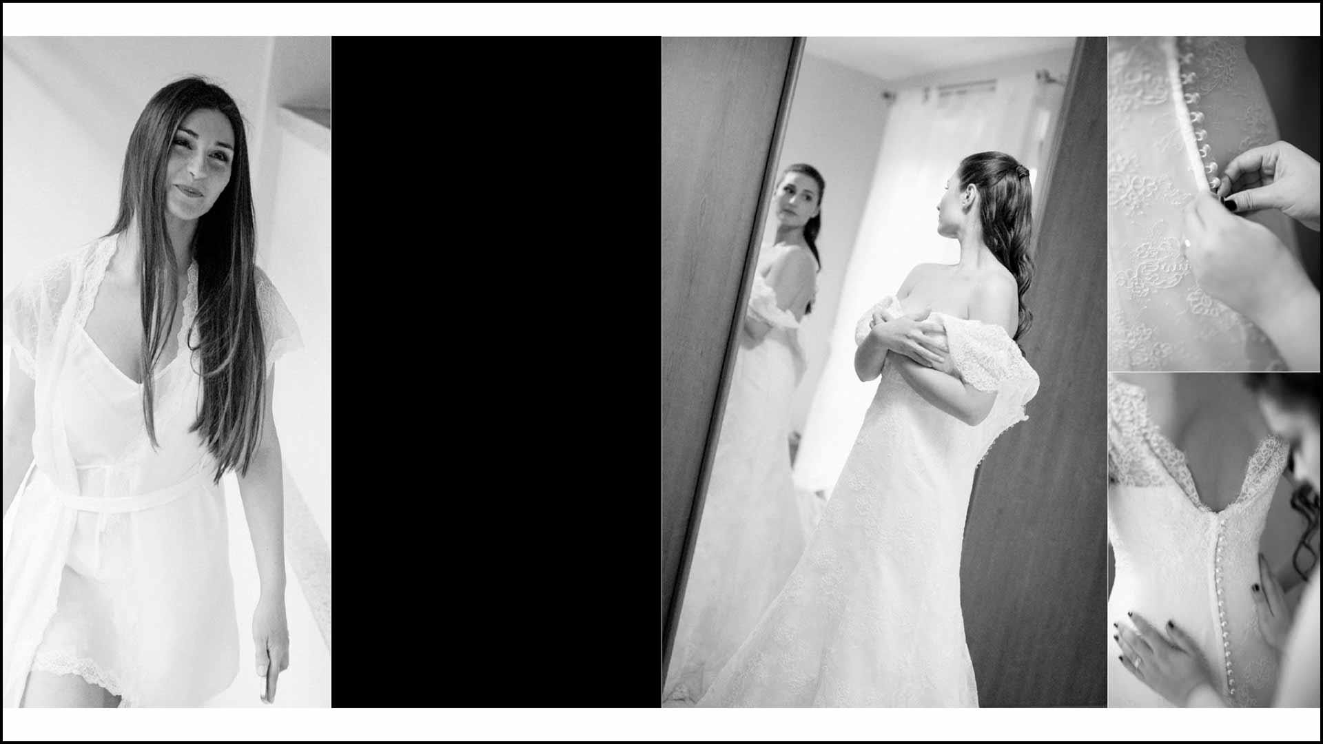 La sposa si prepara indossando il vestito
