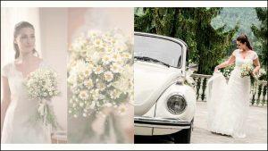La sposa è pronta con il suo bouquet