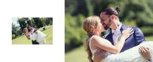Un bacio appassionato degli sposi nel giardino di villa Borghi